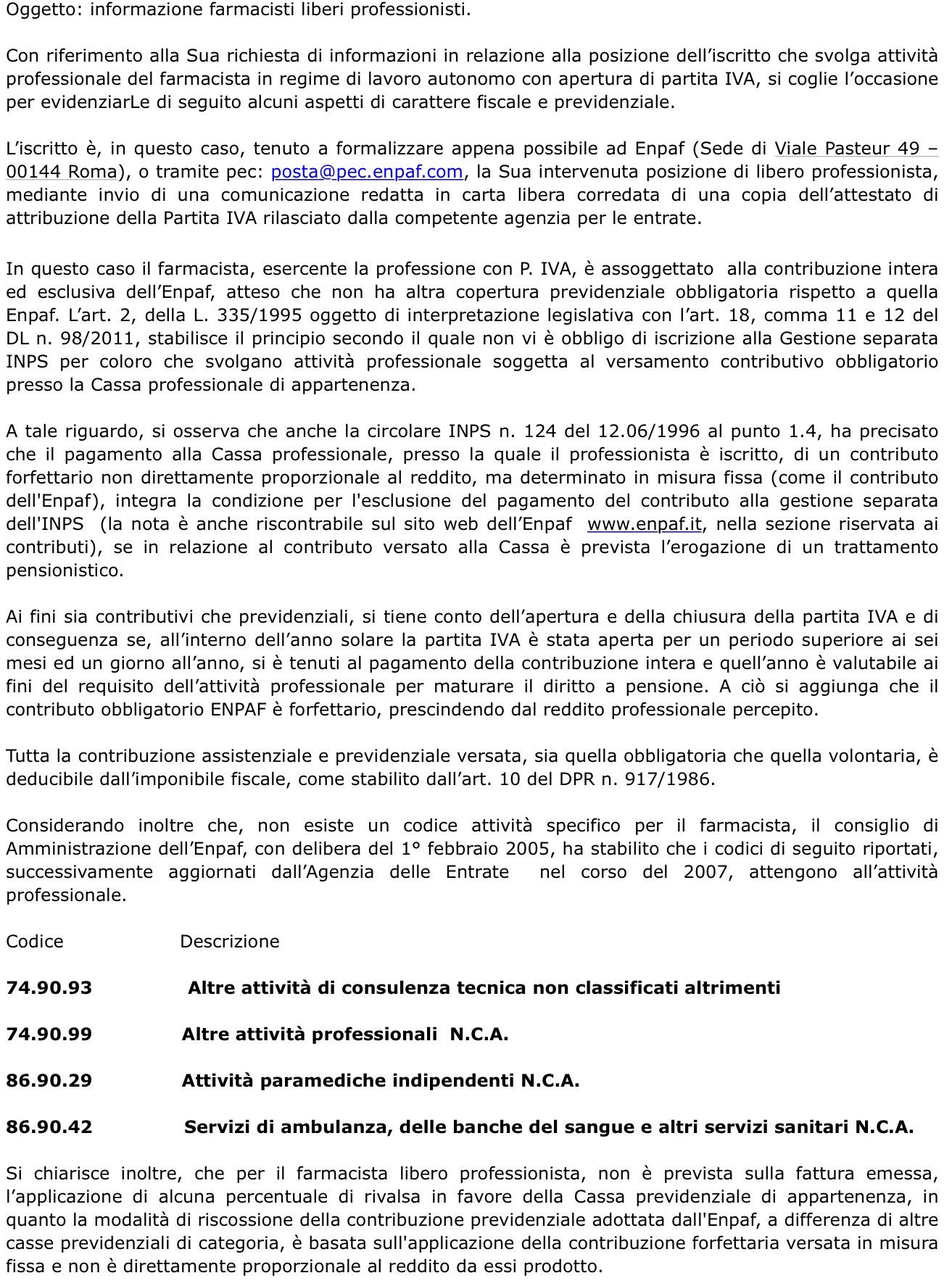 L'informativa ENPAF sul lavoro di farmacista in libera professione.